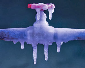 Frozen pipe and valve